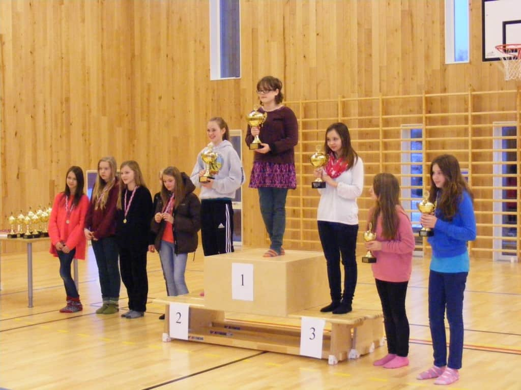 Eva winning first place on the podium, Anna is on the far right