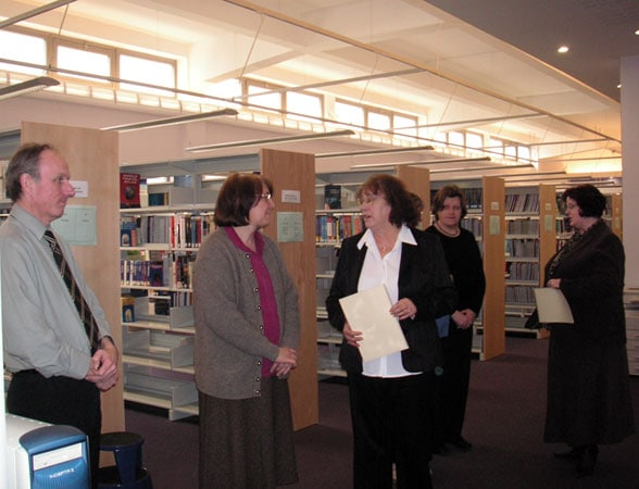 Cynthia with the library staff