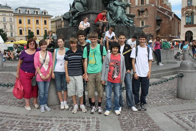 Group in Market Square Krakow