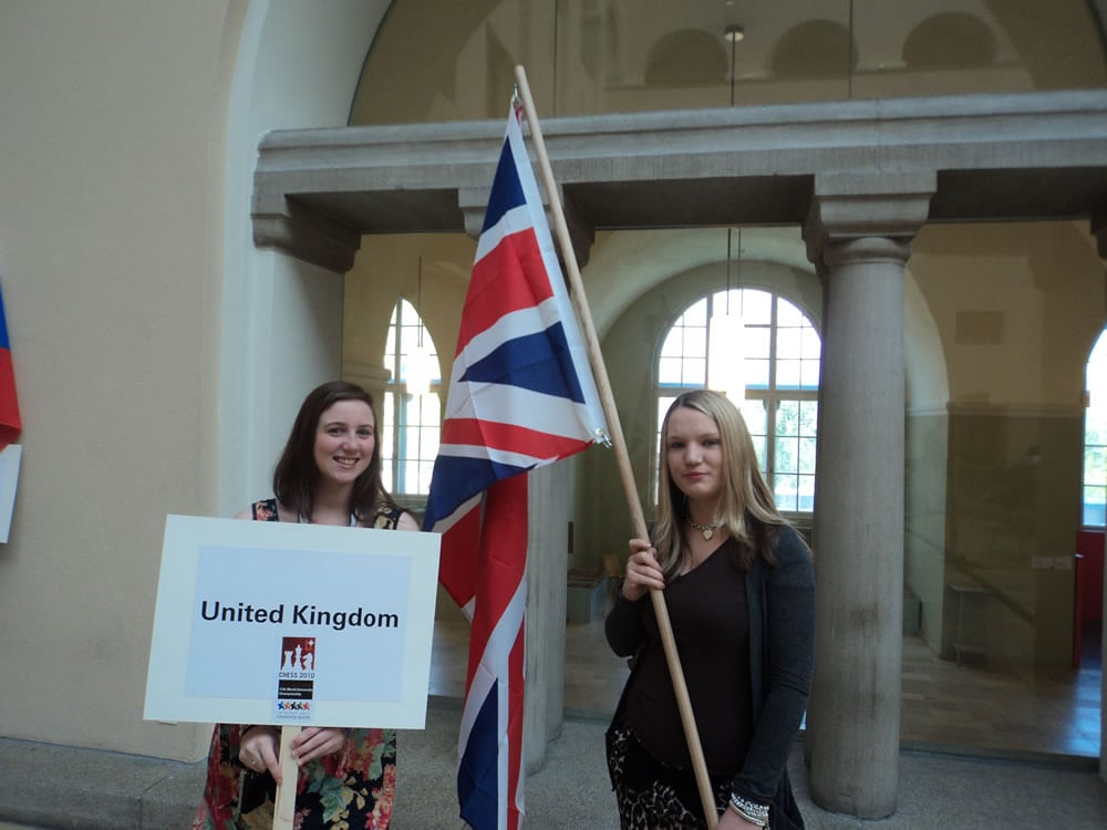 Hannah and Sarah with flag