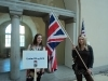 Hannah and Sarah with GB flag
